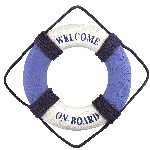 Salvagente d'arredo Welcome on board bianco-blu