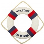 Salvagente d'arredo'' Welcome On Board'' Bianco e Blu - Ø 24 cm